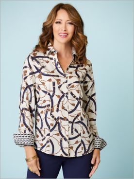 Equestrian Print Long Sleeve Shirt by Foxcroft