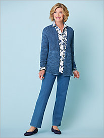 Marled Ribbed Cardigan & Dragonfly Print Shirt by Foxcroft