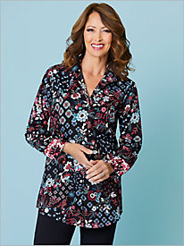 Floral Medallion Print Shirt by Foxcroft