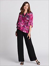 Tiered Delight Top by Alex Evenings & Georgette Slim Leg Pants
