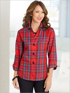 Balmoral Plaid ¾ Sleeve Shirt by Foxcroft