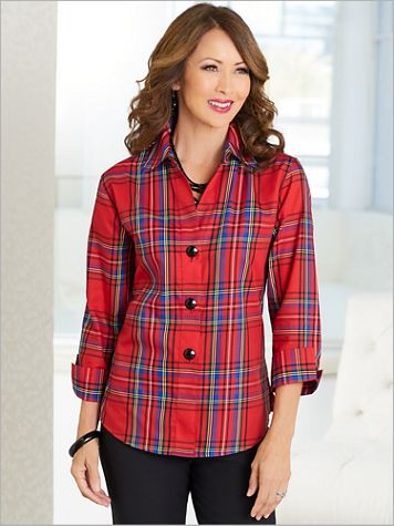 Balmoral Plaid ¾ Sleeve Shirt by Foxcroft - Image 2 of 2
