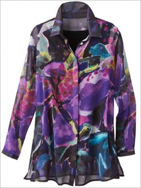 Abstract Floral Print Shirt by Claire Desjardins