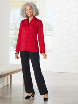 Shantung Ruffle Blouse & Textured Stretch Pants