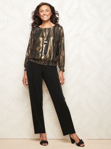 Glamorous Blouson & Textured Stretch Crepe Pants