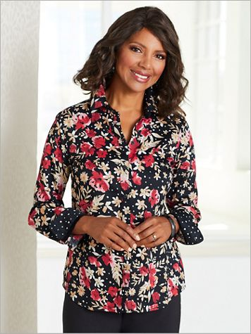 Floral Dot Print Shirt by Foxcroft - Image 2 of 2