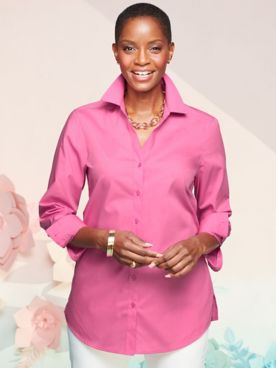 Foxcroft Wrinkle-Free Solid Long Sleeve Tunic