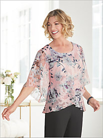 Fantasia Floral Bell Sleeve Blouse by Alex Evenings