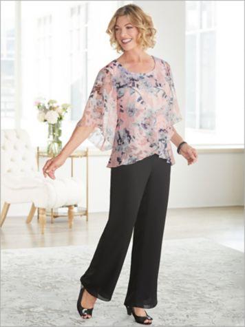 Alex Evenings Fantasia Floral Bell Sleeve Blouse & Georgette Pants