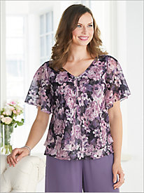 Flutter Sleeve Floral Blouse by Alex Evenings