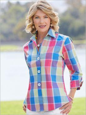 Foxcroft Wrinkle-Free La Jolla Plaid 3/4 Sleeve Shirt