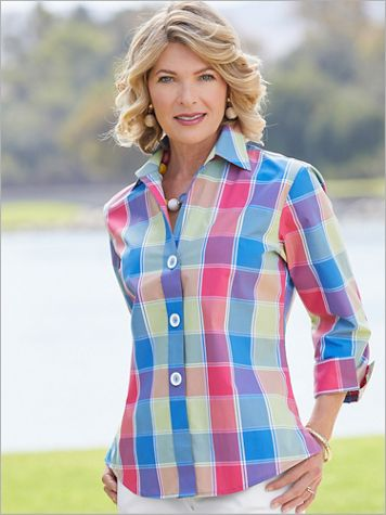 Foxcroft Wrinkle-Free La Jolla Plaid 3/4 Sleeve Shirt - Image 2 of 2