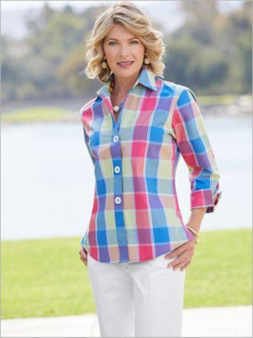 Foxcroft La Jolla Plaid Shirt & Slimtacular® Pants