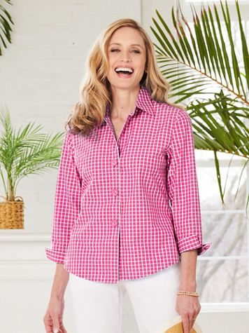 Foxcroft Wrinkle-Free Check 3/4 Sleeve Shirt - Image 1 of 4