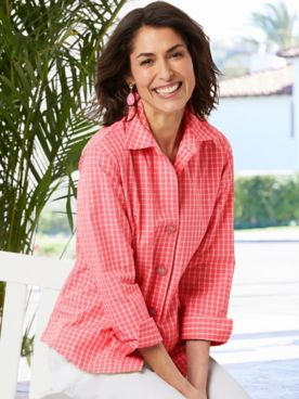 Foxcroft Wrinkle-Free Check 3/4 Sleeve Shirt