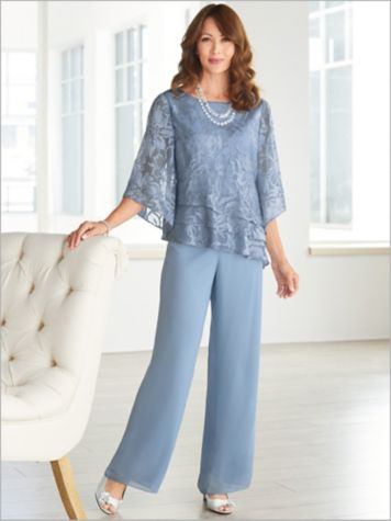 Floral Burnout Tiered Top & Chiffon Pants by Alex Evenings