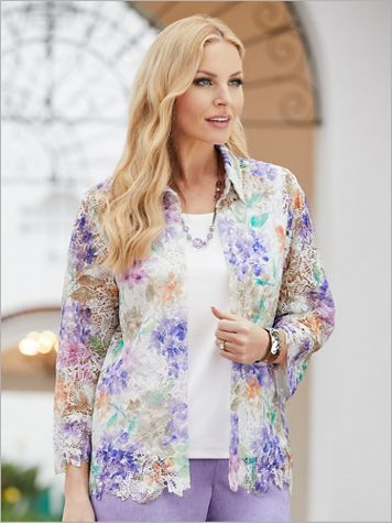 Alfred Dunner Woven Floral Lace 3/4 Sleeve 2-fer Top - Image 2 of 2