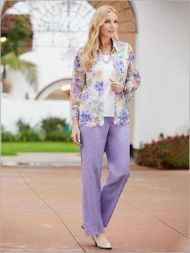 Nantucket Floral Lace 2-Fer & Pants by Alfred Dunner