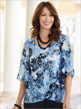Alex Evenings Hydrangea Bloom Special Occasion Blouse