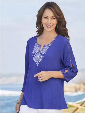 Alfred Dunner Gauze Embroidered Yoke 3/4 Sleeve Top - Image 1 of 3