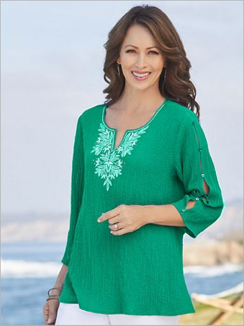 Alfred Dunner Gauze Embroidered Yoke 3/4 Sleeve Top - Image 2 of 2