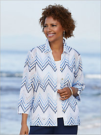 Embroidered Zig Zag Eyelet Shirt by Alfred Dunner
