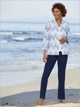 Alfred Dunner Embroidered Zig Zag Eyelet Shirt & Slimtacular® Ultimate Fit Pants
