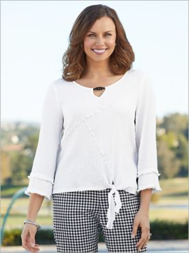Checkmate Tie Front Bubble Gauze Top by Alfred Dunner
