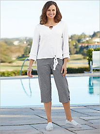 Checkmate Tie Front Gauze Top & Check Capris by Alfred Dunner