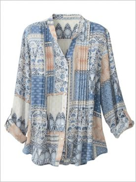 Patchwork Print Top by Ruby Rd.