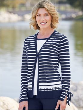Take A Bow Stripe 2-Fer Sweater