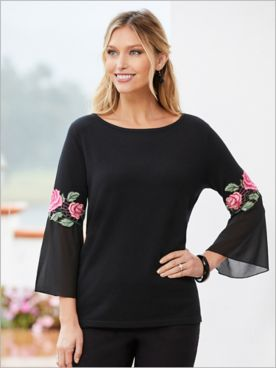 Floral Bloom Bell Sleeve Sweater