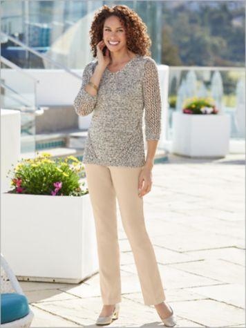 Tape Yarn Burst Sweater & Slimtacular Stretch Twil