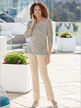 Tape Yarn Burst Sweater & Slimtacular Stretch Twil