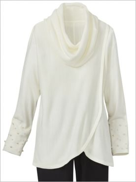 Pearlfection Cowl Neck Long Sleeve Sweater