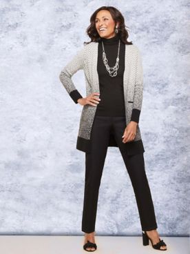 Chevron Open Front Sweater & Slimtacular® Pants