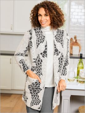 Picadilly Luxurious Floral 3/4 Sleeve Sweater Cardigan