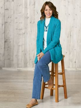 Boucle Cardigan & Slimtacular® Denim Pants