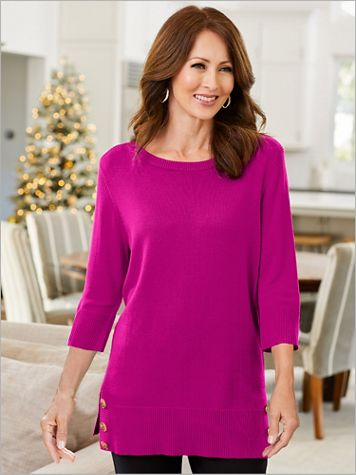 Boatneck 3/4 Sleeve Button Hem Tunic - Image 1 of 4