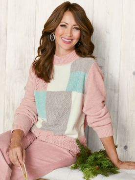 St. Moritz Chenille Colorblock Sweater by Alfred Dunner