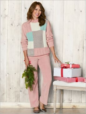 St. Mortiz Chenille Colorblock Sweater & Cord Pants by Alfred Dunner
