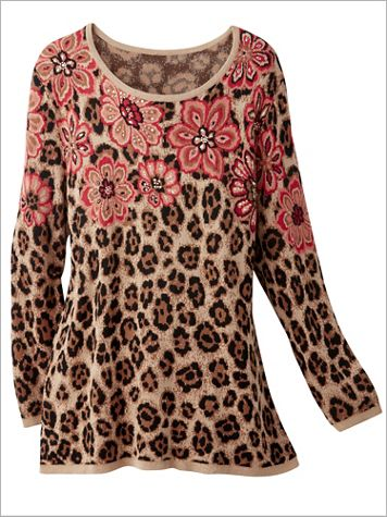 Alfred Dunner Long Sleeve Floral Yoke Sweater - Image 2 of 2