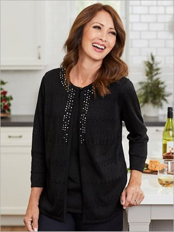 Alfred Dunner Pointelle Sweater Cardigan Set - Image 2 of 2
