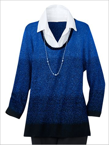 Alfred Dunner Ombré 3/4 Sleeve Pullover - Image 1 of 3