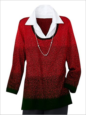 Alfred Dunner Ombré 3/4 Sleeve Pullover - Image 2 of 3