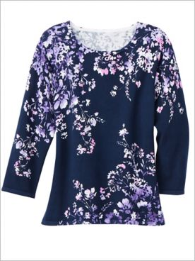 Alfred Dunner Wisteria Lane 3/4 Sleeve Floral Sweater