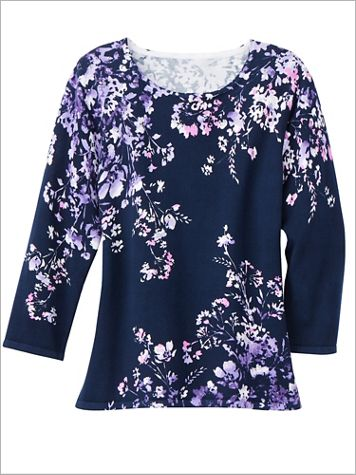 Alfred Dunner Wisteria Lane 3/4 Sleeve Floral Sweater - Image 2 of 2