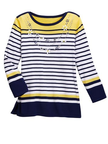 Alfred Dunner Stripe 3/4 Sleeve Sweater With Necklace - Image 1 of 1