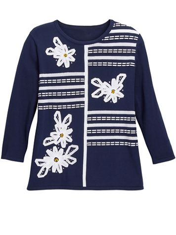 Alfred Dunner 3/4 Sleeve Ribbon Floral Applique Sweater - Image 2 of 2