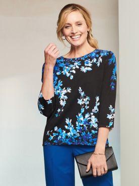 Alfred Dunner Asymmetric Flowers 3/4 Sleeve Sweater